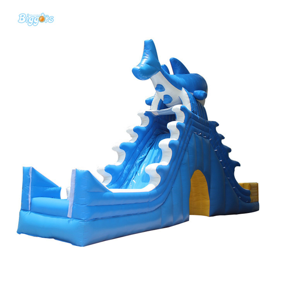 Outdoor Commercial Inflatable Shark theme Water Slides With Blower children shark blue inflatable water slide with blower for pool
