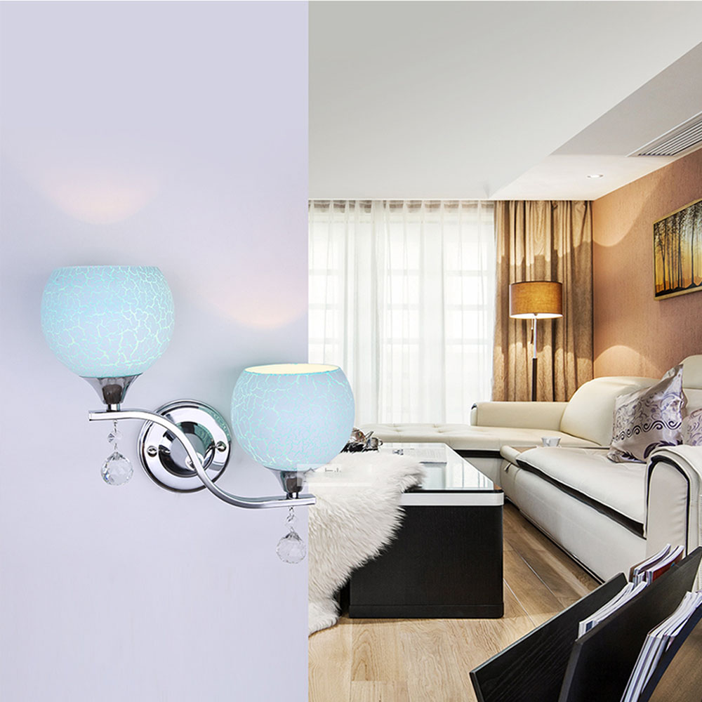 Modern Minimalist Crystal Wall Light E27 110V-220V LED Double Headed White / Pink / Blue Outdoor Wall Lamps Warranty 3 Years e2wy tl 0440 fashionable double wall pp cup spoon cap pink white transparent light pink