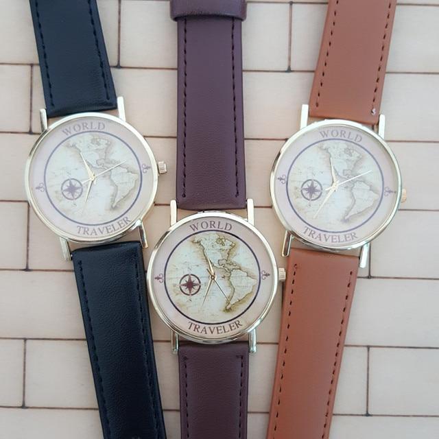 US $5.23 8% OFF|2016 Fashion Global World Traveler Map Watch Men Women  Watches Casual Leather Quartz Watch Retro World Map Dial Watch For Women-in  ...