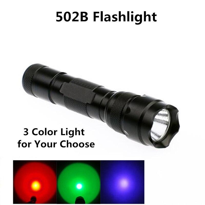 3 Color Purple Red Green Light LED Hunting Flashlight 18650 Rechargeable 502B Torch Flash Light Portable Lanterna