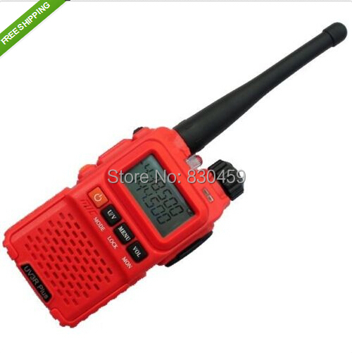 HOt Sale! BaoFeng UV 3R Plus Dual-Band-Display 136-174 / 400-470MHz FM Two Way Radio High Illumination Flashlight Red Color