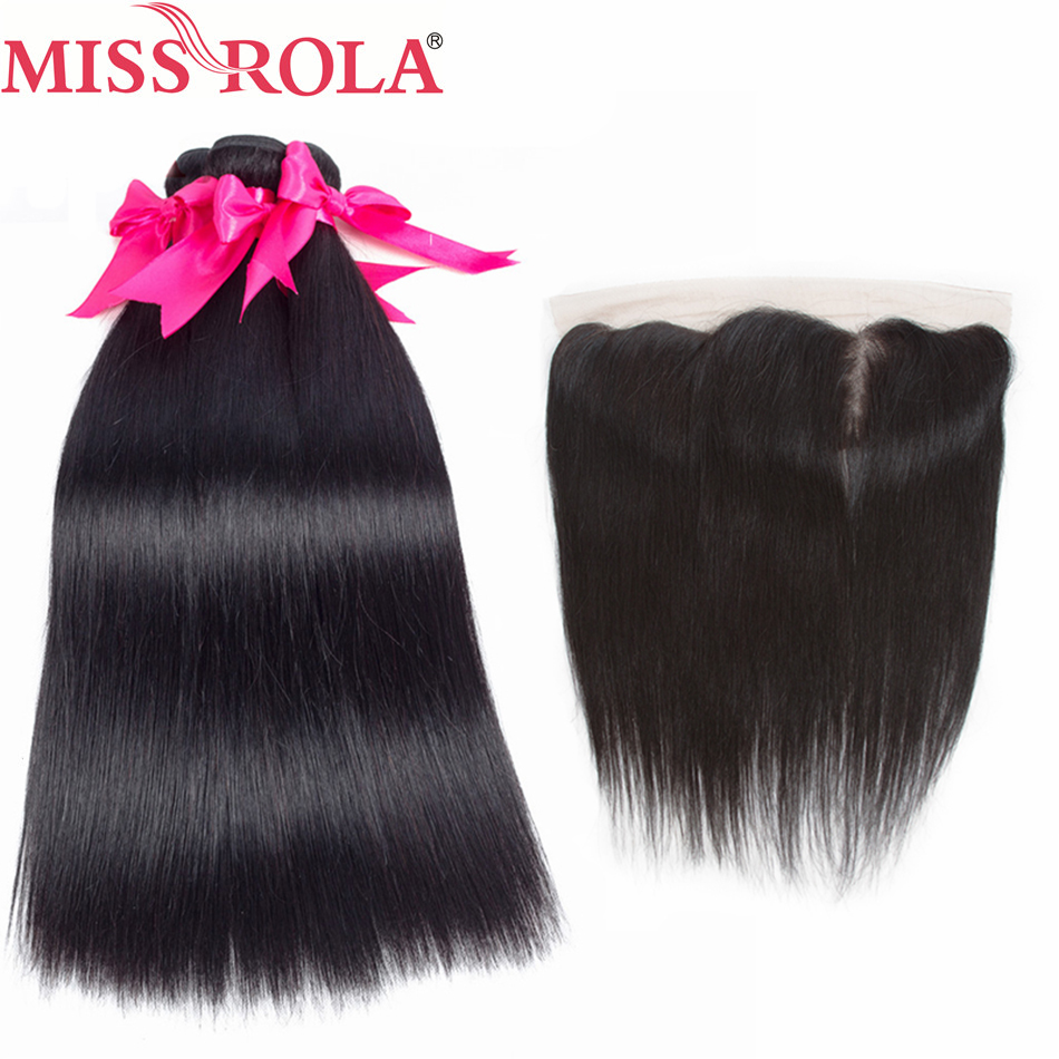 Miss Rola Hair Pre-colored Brazilian 3 Bundles With Lace Frontal Closure Bundles Non-Remy Straight 100% Human Hair Extensions
