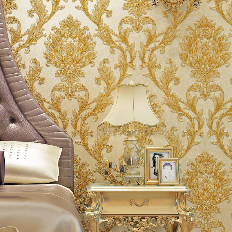 European Style Floral Embossed Non-woven Wallpaper Damask Wall Covering Roll Luxury 3D Wallpapers For Living Room Papel De ParedEuropean Style Floral Embossed Non-woven Wallpaper Damask Wall Covering Roll Luxury 3D Wallpapers For Living Room Papel De Pared