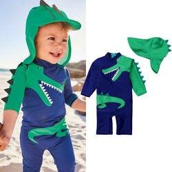 Новинка 2019, Летний Пляжный Купальник для маленьких мальчиков, купальник с цветочным принтом динозавра, купальный костюм, плавки, набор шапо...