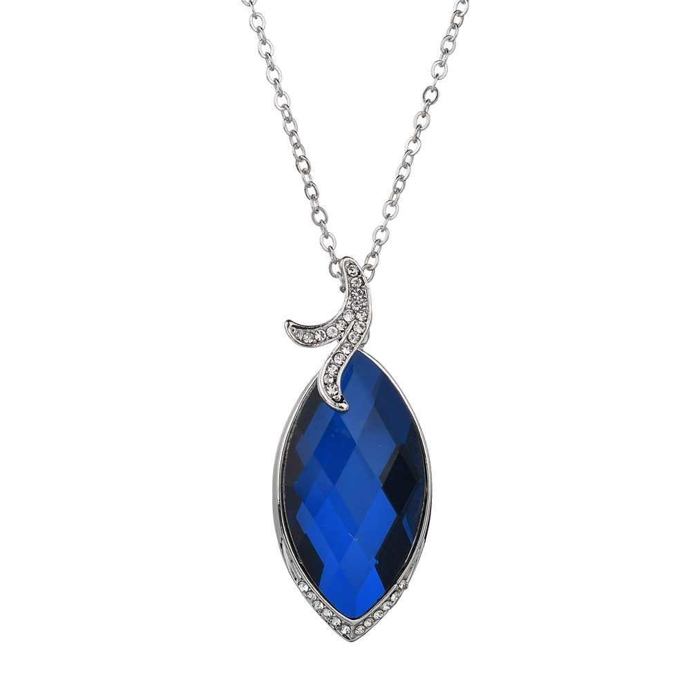 Moda sexy łańcuszek do obojczyka urok niebieski duży kryształ wisiorek elegancki stadniny kolczyki naszyjnik zestaw biżuteria ślubna kobiet