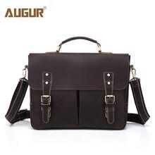 AUGUR Casual Vintage Men Genuine Leather Bags Designer Handbags High Quality Shoulder Bag For Men Multifunctional Laptop Bag