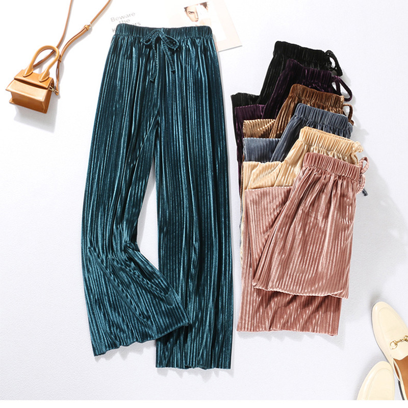 luckymily 2019 New Summer Women Low Waist PantsWide   Leg     Pants   Korean Version Of The Wild Nine   Pants   Loose   Wide     Leg     Pants   Female