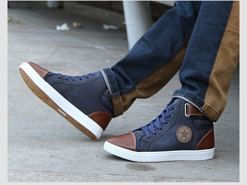 Black Casual Calçado Fasion Alta Outono Lona Blue Qualidade De Sapatas Homens P8c15 Baixos Homem Dos brown Top High deep Sapatos XIxwvPCaq