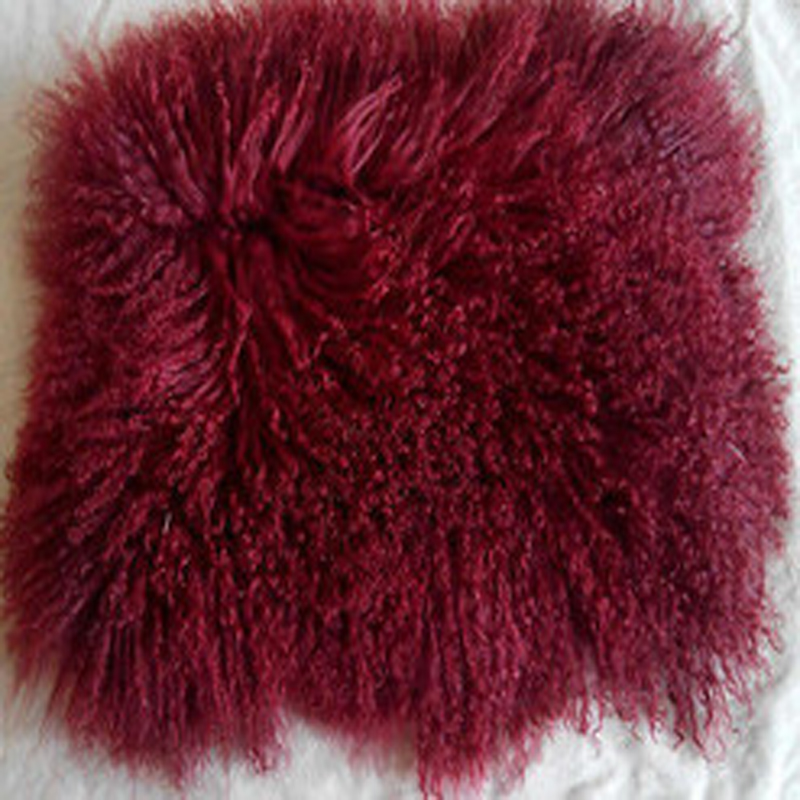dould sides real mongolian fur pillow cover fur cushion cover dark red decorative pillows pillowcase pillow