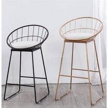 65 см/75 см высота сиденья барный стул современный золотой черный металлический счетчик стул Железный искусство мягкая подушка Европейская Кофейня высокий табурет