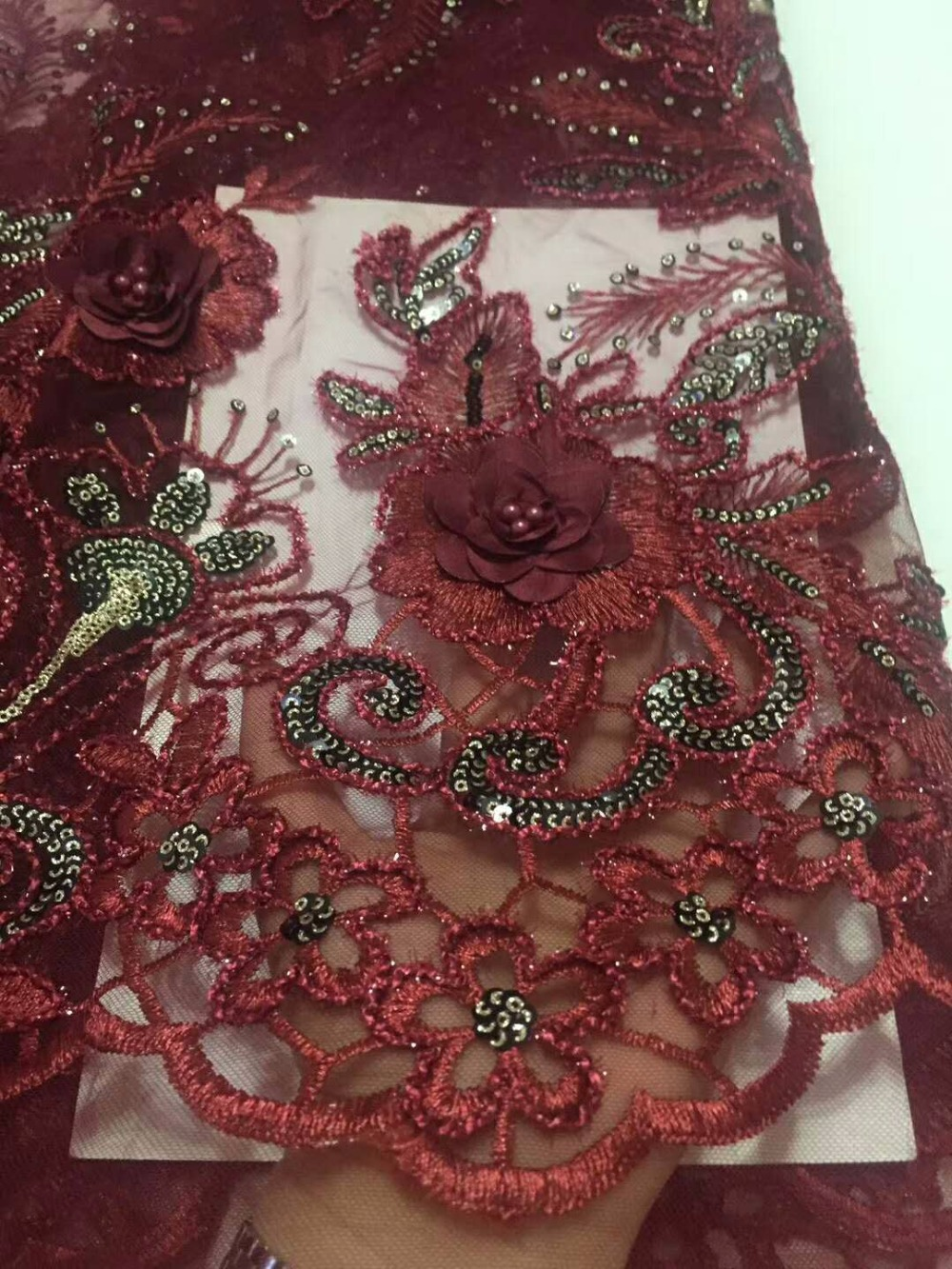 Wine gold sequins African Tulle Lace Fabric 3D Flower Fabric with beads High Quality Beaded Lace