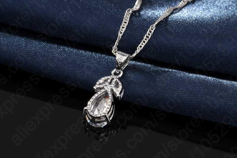 Удивительная цена 925 пробы серебряные ювелирные изделия Настоящий кубический циркон капли воды набор украшений для женщин