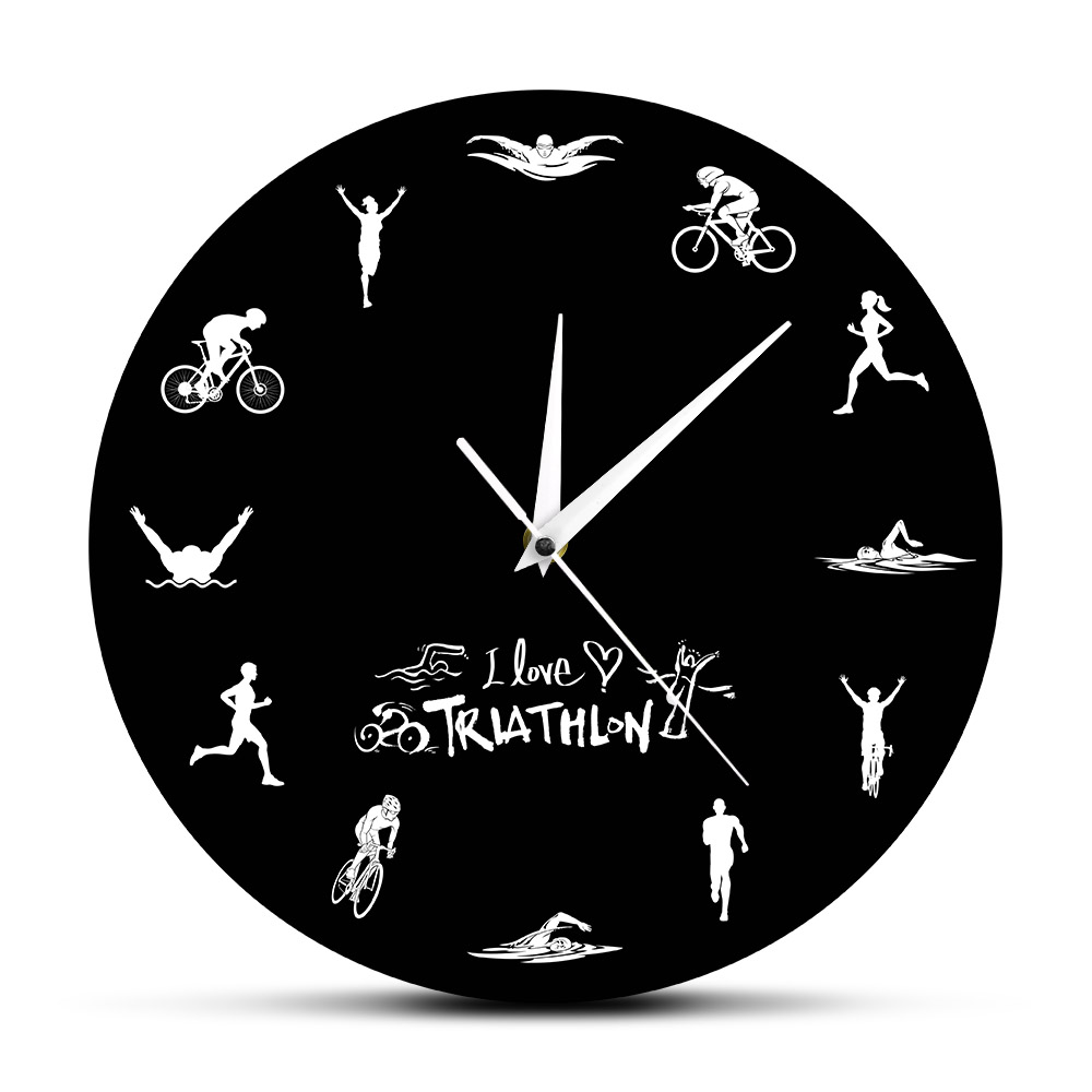 Triathlon Modern Wall Clock Swimming Bike Cycling Running Sports Home Decor Triathlete Wall Watch Timepiece Triathlon Fans Gift