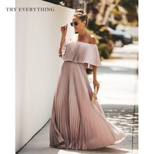Pink Boho Dress Summer 2019 Women New Off Shouider Sexy Party Dresses Chiffon Ladies Pleated A Line Beach Long Dress For Women anne klein new women s size 2 pink printed collared a line pleated dress $119 page 4