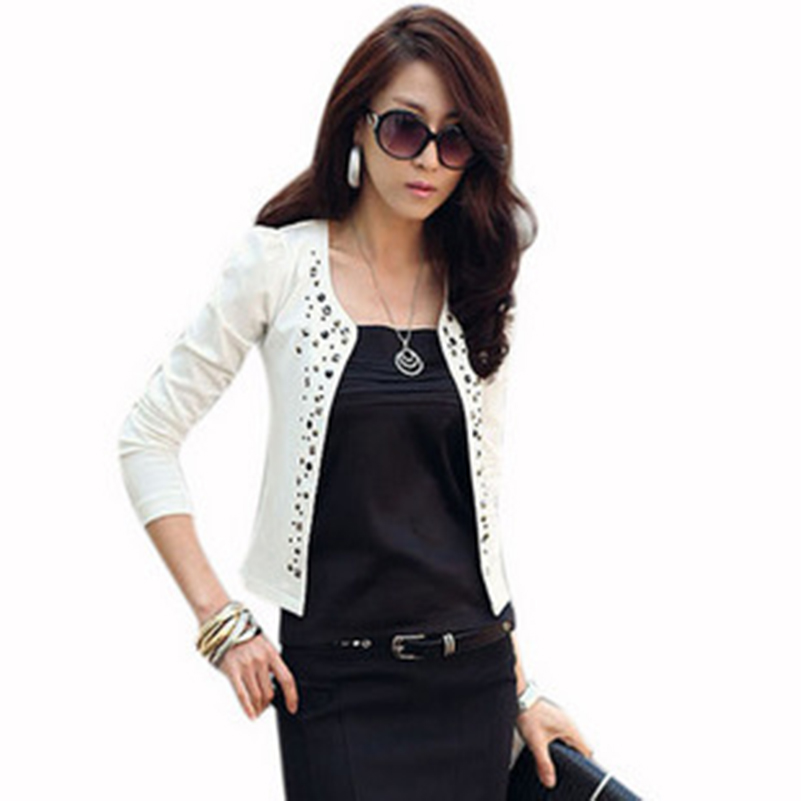 Women Blazers And Jackets Ladies Slim Long Sleeve Black White Suits Short Blazers Rivet Fashion Casual Blazers Office Female