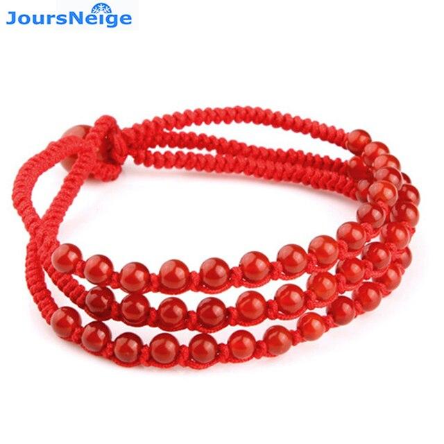 3c6608370ab9 € 7.54 5% de DESCUENTO|Venta al por mayor de tres pulseras rojas de cristal  hechas a mano tres filas de pulseras de cuerda roja modelos femeninos ...