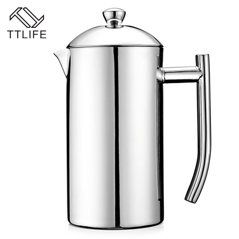 TTLIFE Delicate Coffee Maker French Press Coffee Tea Pot Brewer with Filter Stainless Steel Double Wall