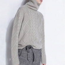 High collar thick needle new cashmere sweater female pullover sweater thick loose bottoming sweater цена и фото