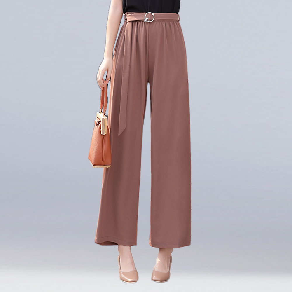 2018 women wide leg pants elegant sashes elastic waist chiffon pants women summer fashion loose casual pants trousers