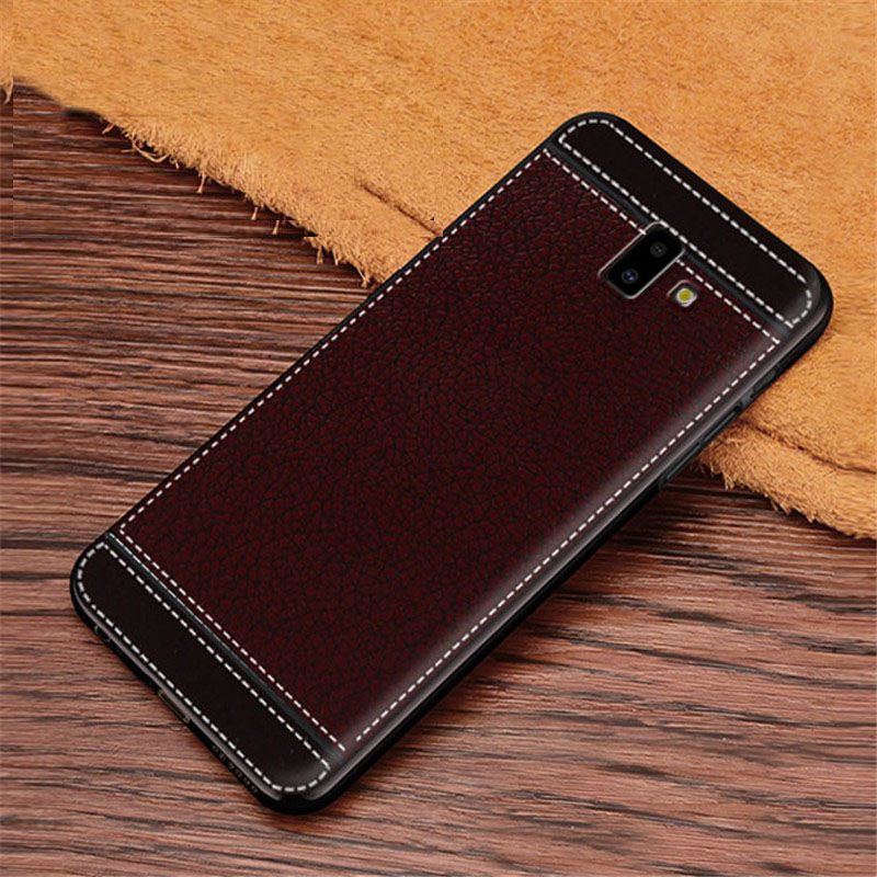 J6 Plus Case Leather Texture Soft TPU Silicone Case Cover for Samsung Galaxy J6 Plus J6+ J 6 Plus J610F SM-J610F J610 6.0inch