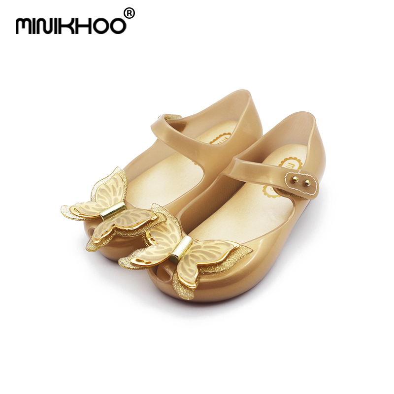 Mini Melissa 2018  HOT SALE Mini 3D Butterfly Jelly Sandals Jelly Children Sandals Princess Shoes Fashion Mini Sandals Girl
