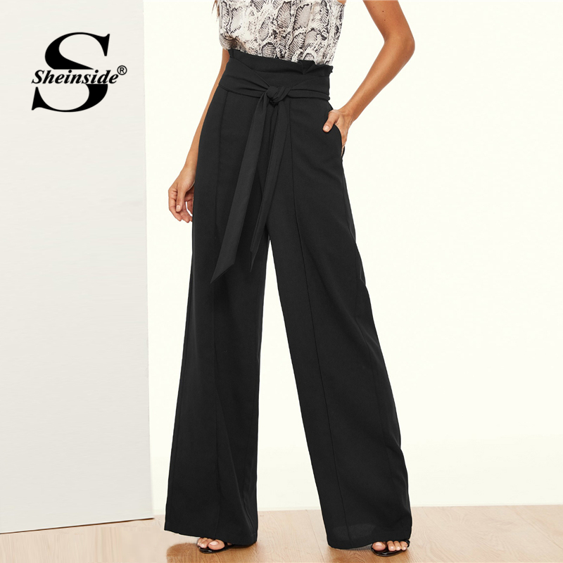 Sheinside Black Paper-bag Waist Wide Leg Pants Women High Waist Belted Pants 2019 Spring Elegant Elastic Waist Workwear Pants