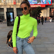 2018 Autumn Neon Women Sweatshirt Slim Knitting Winter Basic Tee Solid Cotton Turtleneck Top