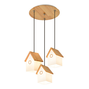 Restaurant chandelier wooden dining room creative three-headed personality home art Nordic lamps