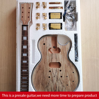 DIY LP Style Electric Guitar Spalted Maple VENEER+ African Mahogany Okoume Body Neck Rosewood Fingerboard Set Presale Guitar