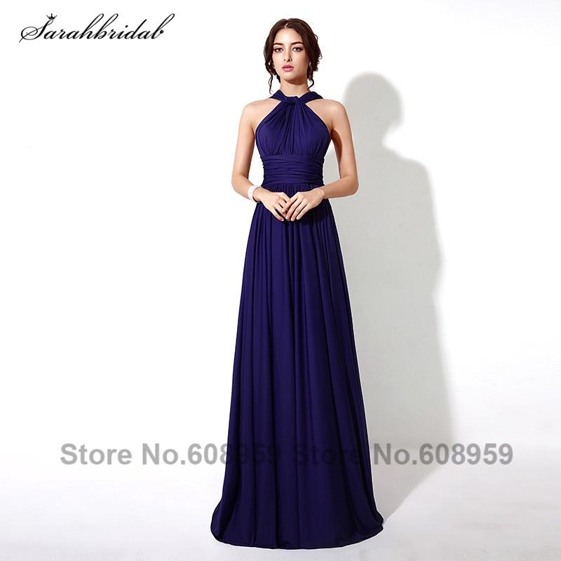 Multipurpose Navy Blue   Bridesmaid     Dresses   Abendkleider New Pleated Halter Long Party   Dress   Vestidos De Noche SD243