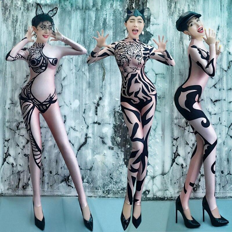 Frauen Sexy Nude Druck Overall Bar Nachtclub DJ DS Sänger Kostüme Pole Dance Leistung Bühne Sexy Body