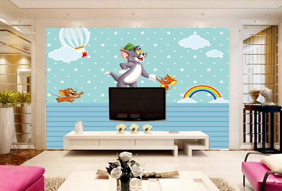 Custom papel de parede,Cute cartoon cat and mouse children mural,living room TV sofa wall children bedroom modern wallpaper custom 3d murals cartoon wolf papel de parede hotel restaurant coffee shop living room sofa tv wall children bedroom wallpaper
