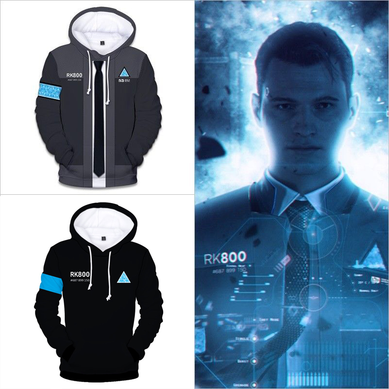 Game Detroit Become Human 3D Hoodies Men/Women Harajuku Spring Winter Boys/Girls 3D Print RK800 Detroit Party Cosplay Costumes