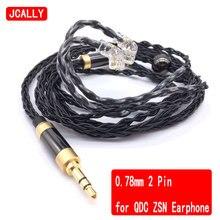 JCALLY 8 brins câble 0.78mm 2 broches pour QDC ZSN écouteur casque 2.5mm 3.5mm 4.4mm personnalisé écouteur câble pour IPhone Android IOS