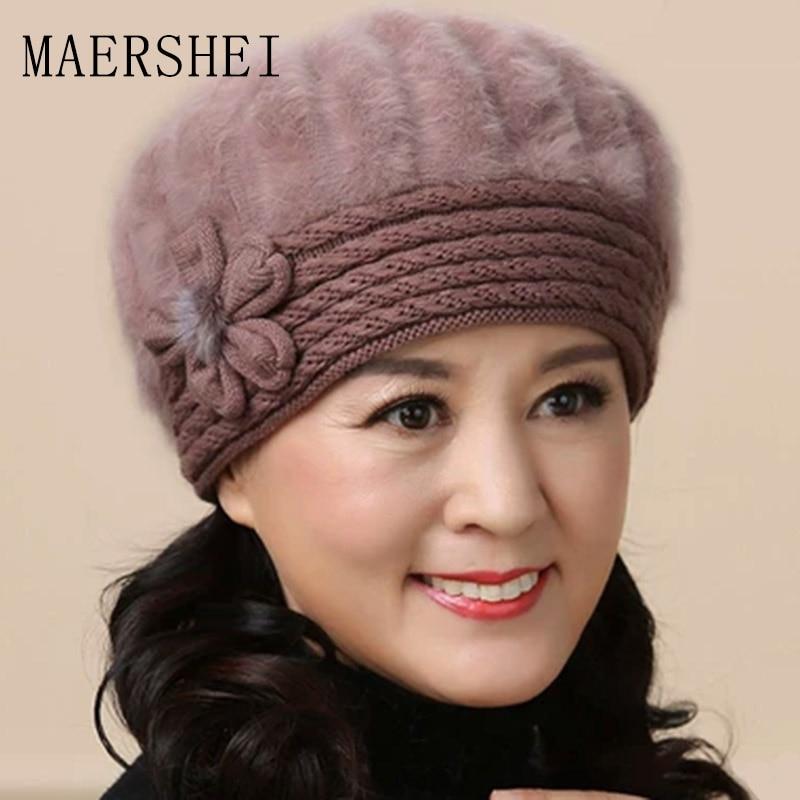 MAERSHEI Winter Warm Earmuffs Wool Cap Middle-aged Winter Mom Hat Beret