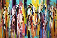 Hand Painted Decorative Fine Wall Artwork Animal Equine Canvas Picture Handmade Modern Abstract Knife Horse Oil Painting Crafts