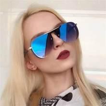 f94e4e352 2019 Azul Das Mulheres Designer De Marca Óculos De Sol Do Metal Quadro  Grosso Oversized Óculos de Sol Revestimento de Espelho To.