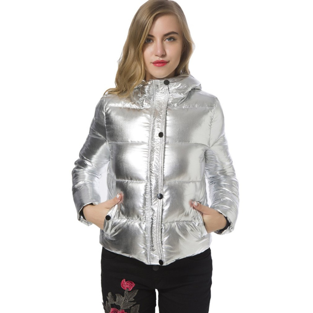 2017 New Women Winter Jacket Solid Silver Bread Down Cotton-padded Jacket Thick Warm Long Sleeve Hooded Windproof Parkas