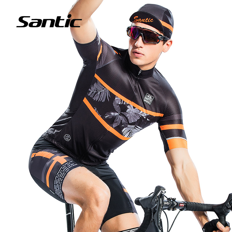 Santic Summer Cycling Jersey Men Short Sleeve MTB Bike Jersey Breathable Quick Dry Road Mountain Bicycle Jersey Camisa Ciclismo