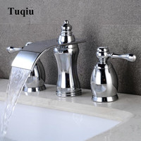 Basin Faucets Polished Chrome Brass Bathroom Waterfall Widespread Sink Faucet Double Handle 3 Hole Bath basin mixer tap