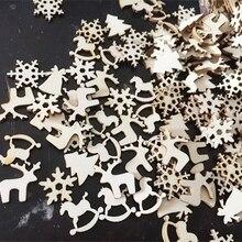 50PCS DIY Snowflakes&Deer&Tree Wooden Pendants Ornaments Kids Birthday/Wedding/Christmas Party Decorations Kids Gift