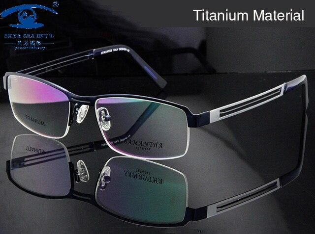 Мужчины Titanium Eyeglasses Frame Высококачественные Оптические Frame Человек Половина Обод Оптический Очки Принимаем Рецепт Очки