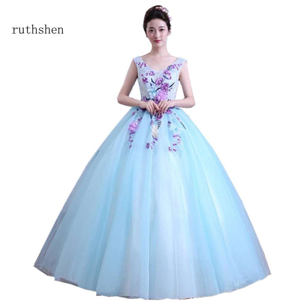 ruthshen Baby Blue Ball Gown Quinceanera Dresses With Appliques Flowers Sexy V Neck Prom Dress Vestidos De 15 Anos Sweet 16 2018