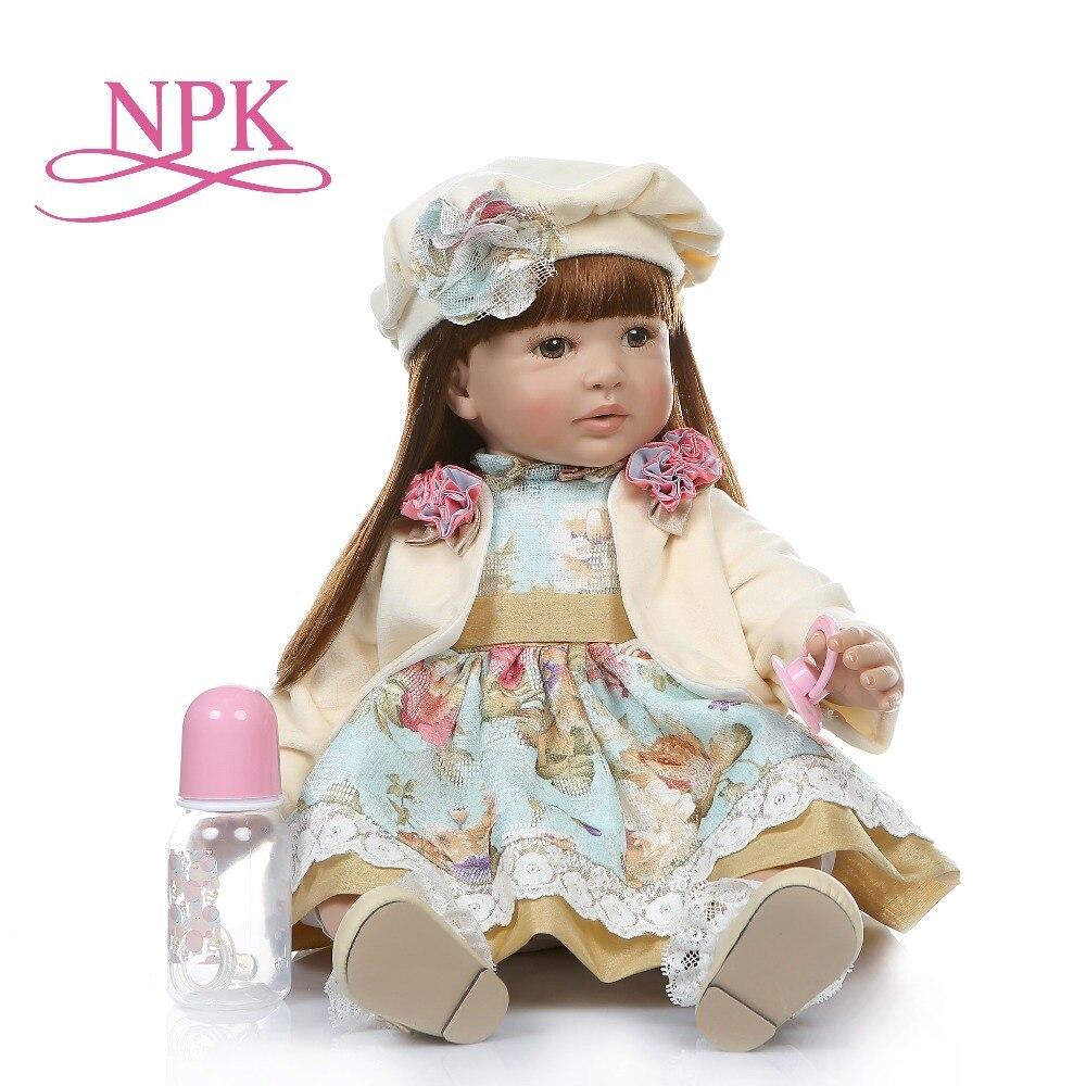 NPK große größe 60 CM reborn kleinkind mädchen lebensechte bebe puppe reborn lange gerade braun rot haar 6 Monat echt baby puppe-in Puppen aus Spielzeug und Hobbys bei  Gruppe 1
