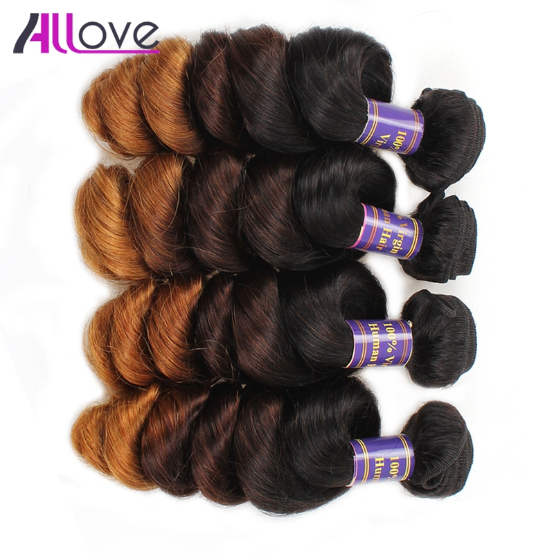 Allove Hair Brazilian Loose Wave Hair Ombre T1B/4/30 Remy Human Hair 4 Bundles Human Hair Extensions 12-24 Inch Shipping Free