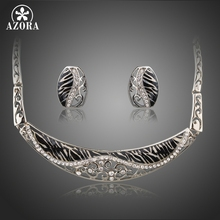 AZORA White Gold Color Hollow Flower Vine Carving Leopard Collar Necklace and Earrings Jewelry Sets TG0231