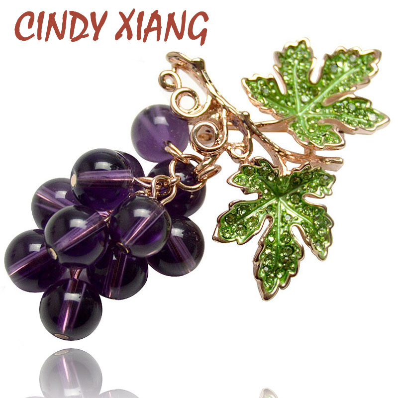 CINDY XIANG Summer Crystal Grape Brooches For Women Cute Luxury Brooch Pin Fashion Jewelry Elegant Wedding Brooch Bouquet Hot