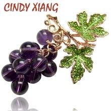 Женская Брошь в виде винограда CINDY XIANG, красивая винтажная брошка с кристаллами на лето