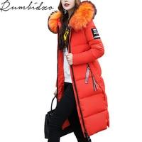 Winter Jacket Women 2017 Large Fur Collar Hooded Cotton Padded Long Coat Women Parka Thicken Warm