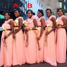 2017 Elegant Long Bridesmaid Dress With Flower Strap Girls Dress One Shoulder Chiffon Back Zipper Sweep
